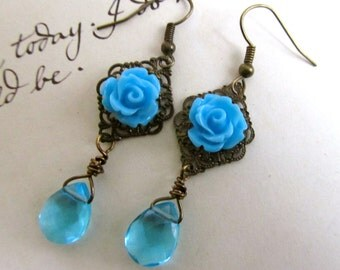 Turquoise Blue Earrings, Unique Beaded Jewelry, Dangle Earrings with Flower and Crystal