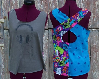 Size M Headphones Upcycled Tank Top DIY