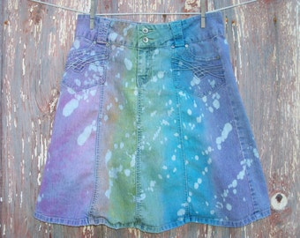 Size 5 Rainbow Dyed and Bleached Denim Skirt