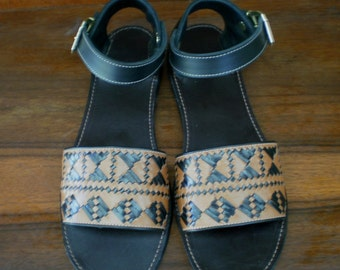 Size 8.5 Tribal Leather Sandals Handmade