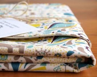 Organic Baby Blanket in FROLIC in BLUE, Organic Baby Blanket Gift, Receiving Blanket by Organic Quilt Company