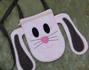 In the Hoop Bunny Purse Machine Embroidery Design File Instant Download