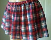 Sexy Red PLAID School Girl  MINI Skirt  L XL