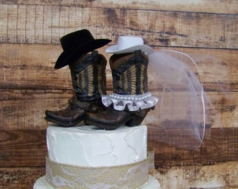 Rustic Cake Topper-Western Cowboy Boots Cake Topper-Wedding Cake Topper-Barn Wedding, NEW Larger Boots