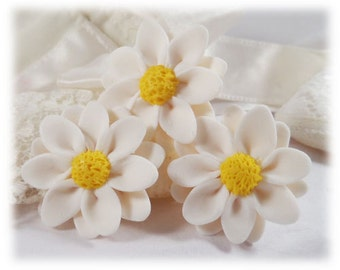 White Daisy Hair Pins - Daisy Hair Accessories, Daisy Wedding Hair Flowers