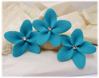 Turquoise Hair Flowers - Turquoise Flower Hair Pins, Aqua Turquoise Wedding Hair Flowers