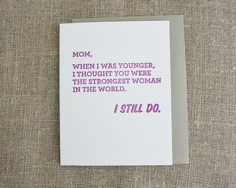 Letterpress Mother's Day Card - Strongest Woman