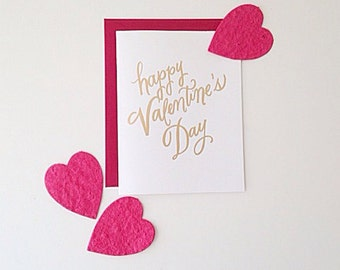 Happy Valentine's Day - Gold Foil Letterpress Card Set of 8