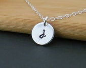 Personalized Tiny Initial Necklace Sterling Silver Sequin - Hand Stamped Tiny Drop - Bridal, Layering Necklace