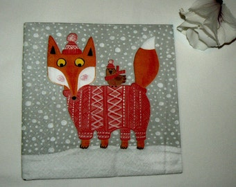2  images Napkins from Holland Fox in snow