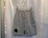 VTG Shorts Railroad Stripe Bermuda Shorts 1960s 60s NWOT Shorts Strawberry Applique Shorts Long Shorts Blue and White Navy and White Size XS