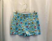 Cute Cooking Owls Print Shorts High Waist Shorts All Cotton Turquose Blue Cotton High Waisted Shorts Kitchen Owls Size Small to Medium