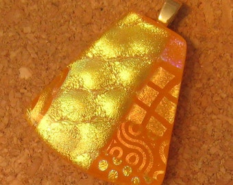 Orange Fused Glass Pendant Dichroic Glass Pendant Fused Glass Jewelry Dichroic Jewelry Glass Pendant