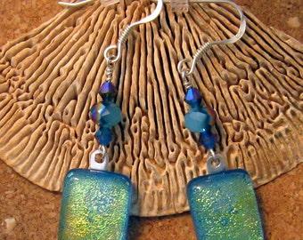 Dichroic Earrings - Fused Glass Earrings - Dichroic Jewelry - Dangle Earrings - Crystal Earrings Blue Crystal Earrings