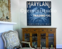 Maryland blue crab trading company chesapeake bay nautical graphic art illustration on canvas by stephen fowler