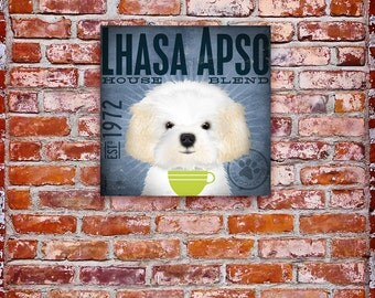 Lhasa Apso dog Coffee Company graphic art on gallery wrapped canvas by stephen fowler