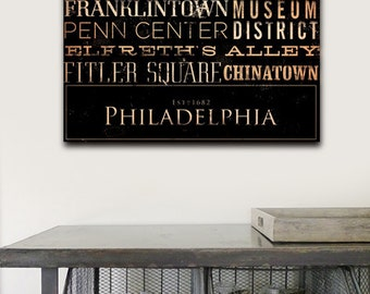 Philadelphia neighborhoods typography graphic art on gallery wrapped canvas by gemini studio