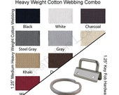 10 Yards Cotton Webbing Medium-Heavy / 25 Key Fob Hardware Combo - 1.25 Inch - Plus Instructions - SEE COUPON
