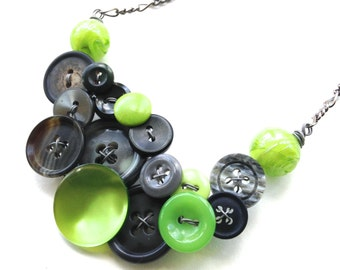 Lime Green and Gray Jewelry Chunky Button Necklace