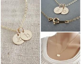 Two initial necklace, lowercase initial personalized gold initial necklace, 14K gold filled letter necklace gold custom his and her necklace