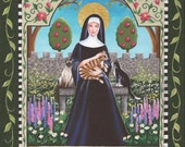 Saint Gertrude - 8 x 10 Print of Original Acrylic Painting by Carolee Clark