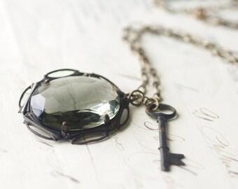 Relic jewel necklace vintage glass grey smoky topaz gray skeleton key antique oxidized