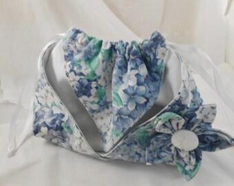 Origami Drawstring Pouch bag - Hydrangea Print  Cotton with Kanashi Flower -Handmade