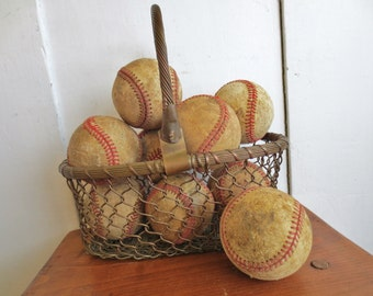 Play Ball... Vintage Baseball Collection Set of 5 Rustic Bowl Filler Vintage Sports Memorabilia Sporting Goods Outdoor Games