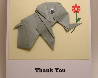 Origami Elephant Thank You Card