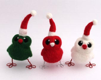 Needle Felted Bird Christmas Decoration Santa's Little Helper