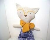 Handmade Cloth Rag Doll, Eco Friendly Doll, Plush Toy, Soft Doll, Doll, Mr Fox