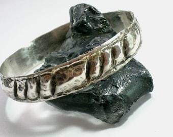 Silver Bangle, Silver Bracelet, Stacking Bracelet, Sterling Bangle, Blackened Silver, Hammered Bracelet, Earthy Bracelet, Tribal Bangle