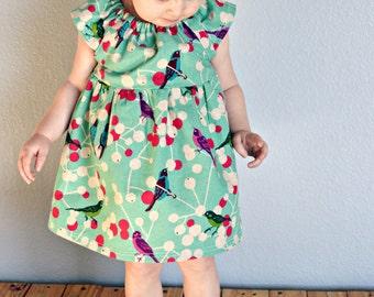 Dress -  bird pink baby toddler girl 0-3, 3-6, 6-12,12-18  2T 3T 4T birthday cherry blossoms  photo shoot summer