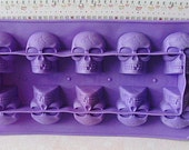 SILICONE--Skull--Rubber--DeSTASH Supplies---Flexible Skeleton Head Tray Molds--Ice Cubes-Soaps-Wax Tart Melts, Jello Toys-Candles-DESTASH