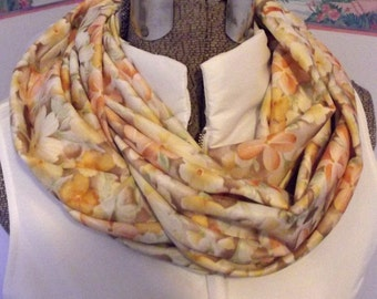 Handmade Floral Infinity Scarf, Soft Knit Fabric, Nursing Cover, New Mom Gift, Yellow, Brown, Peach, Flowers