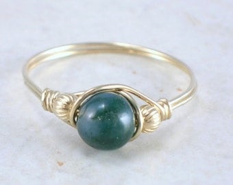 14kt Gold Filled Moss Agate Wire Wrapped Bead Ring