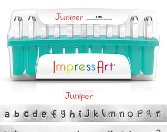 """JUNIPER - LOWERcase Handwriting font - Steel Letter Stamps - by ImpresssArt - 1/8"""" (3MM) size - includes 7 design stamps and tutorial"""