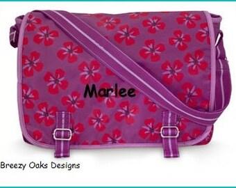 Personalized Floral Messanger Bag, School Bookbag, Diaper Bag, Monogramed Backpack, Graduation Present, School Bag, Back To School,