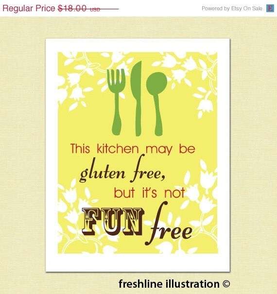 Kitchen Signs For Sale: Funny Kitchen Art Kitchen Sign Food Gluten Free Is By