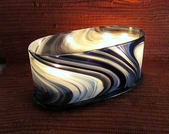 Fused Glass Candle Holder Black and White Oval Votive