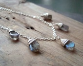 SALE Labradorite Teardrop Necklace Sterling Fall Jewelry Fall Fashion - Storm Clouds