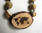 Rustic Twig Slice Wooden World Dotted Map Pyrography Jasper Hemp Necklace by Tanja Sova