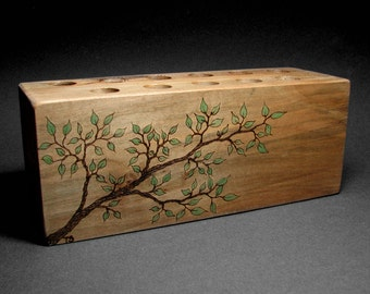 Simplicity No 5 - Back To Nature - College bound - Organic Natural Maple Display Pencil Holder Rack by Tanja Sova