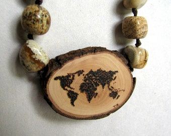 Rustic Twig Slice Wooden World Dotted Map Pyrography Jasper Hemp Necklace by Tanja Sova