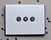 "Letterpress ""I <3 U"" Typewriter Keys Valentine's Day Love Greeting Card with Envelope"