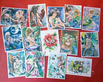 14 Assorted Mermaids and fairies ACEO ART PRINTS