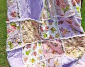 Rag Quilt, Cupcakes and Ladies, Pink, Purple, Flowers, Stripes, Dots, Loralie Fabrics, Large Lap Quilt. Rag Lap Quilt, Handmade, Bedroom