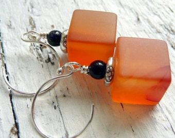 Pumpkin Cubes Carnelian BlueGoldstone KHT Sterling Silver OOAK Bohemian Dangle Earrings