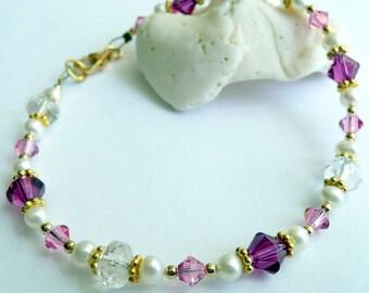 Pink Swarovski Crystal White Fresh Water Pearl Czech Glass 14kt Gold Vermeil OOAK Eclectic Bohemian Valentine Love Gift for Her Bracelet