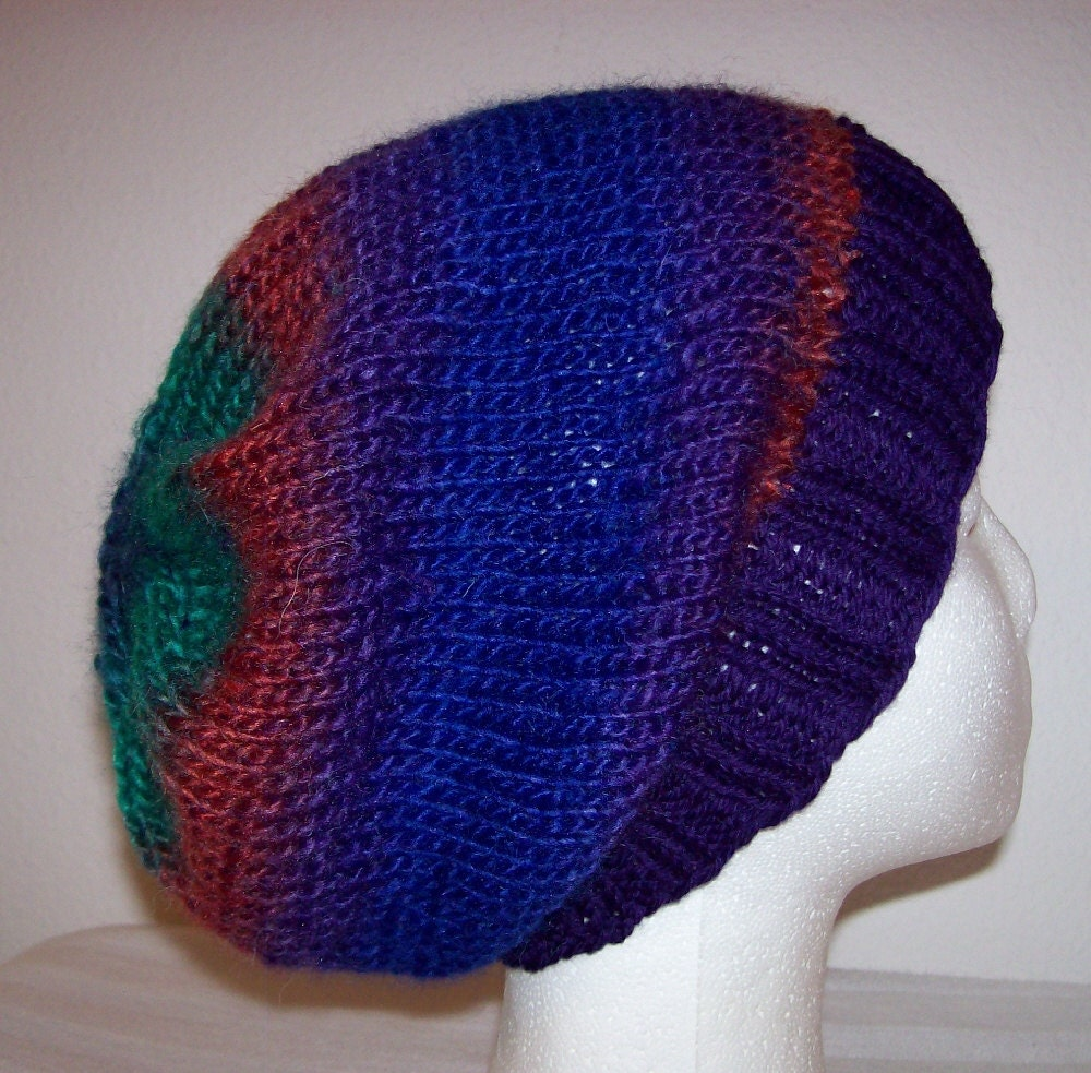 Hipster Hat Knitting Pattern : Wool/Acrylic Hipster Beanie Hand Knit Hat Slouchy Knit